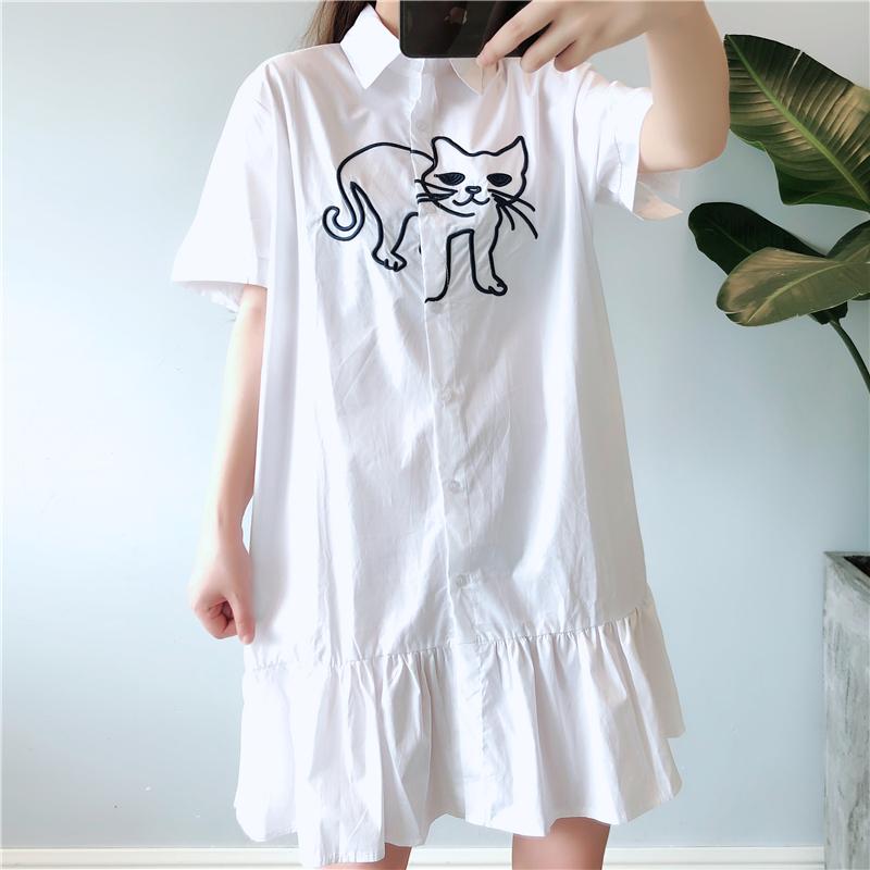 孕妇夏装连衣裙2019韩版中长款时尚大码宽松白色衬衫上衣潮妈裙子