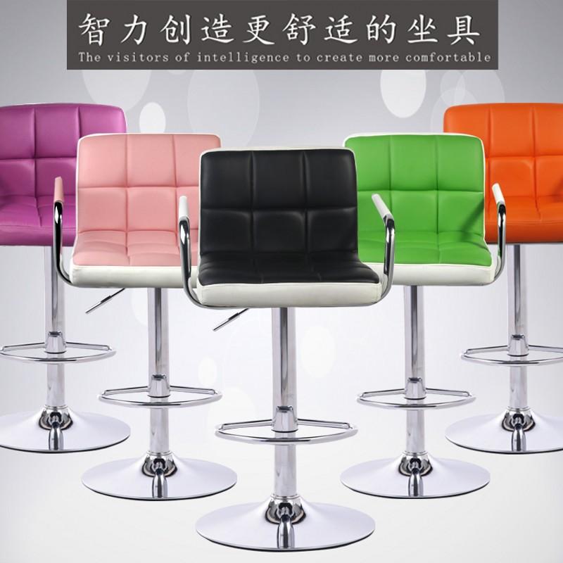 家用吧台椅升降高脚凳酒吧桌椅现代简约化妆靠背椅前台收银旋转椅