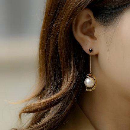 乐紫时尚珍珠耳环网红女长款气质耳坠纯银显脸瘦耳钉 简约巴洛克