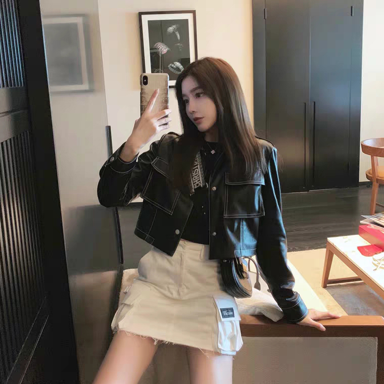 Han Yujia Korean version of skinny motorcycle leather coat womens spring and autumn 2019 new short slim jacket