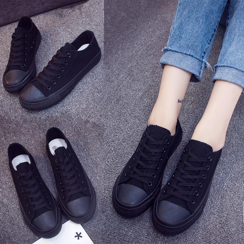 低帮全黑色女生纯黑透气工作板鞋子正品保证