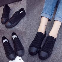 低帮全黑色帆布鞋女纯黑百搭工作板鞋子男学生透气休闲韩版小黑鞋