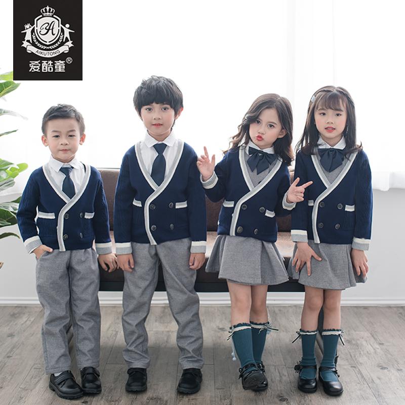 幼儿园园服春秋装小学生校服套装英伦风学院风毛衣儿童纯棉班服