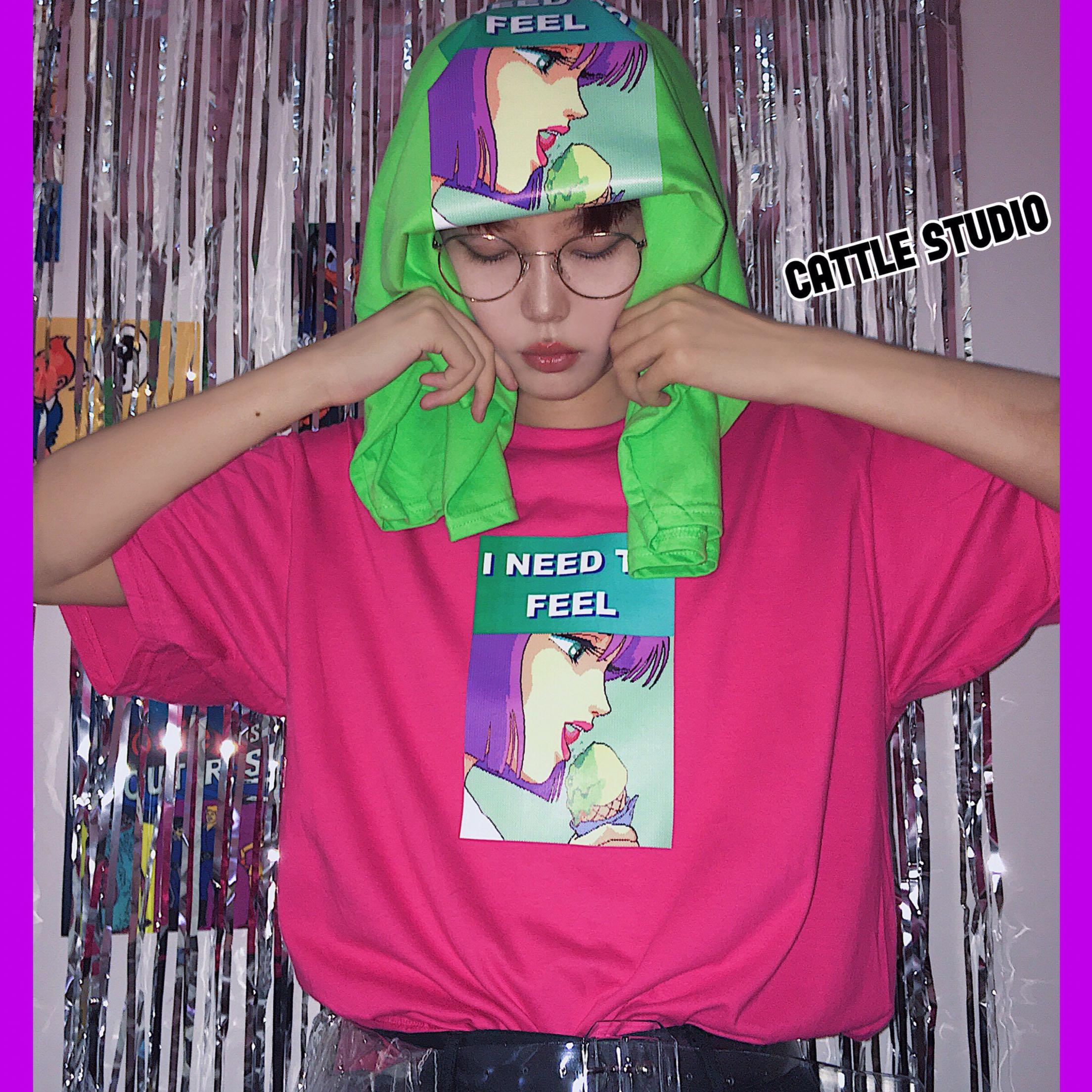 Cattle赵大牛 自制18新款 像素风 双色圆领短袖T恤 oversize 百搭