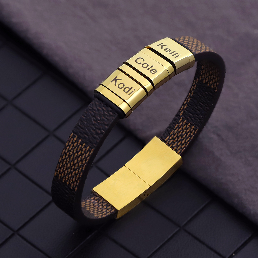 Cross border new European and American fashion leather lettered Bracelet Trinket floor stand letter Bracelet man