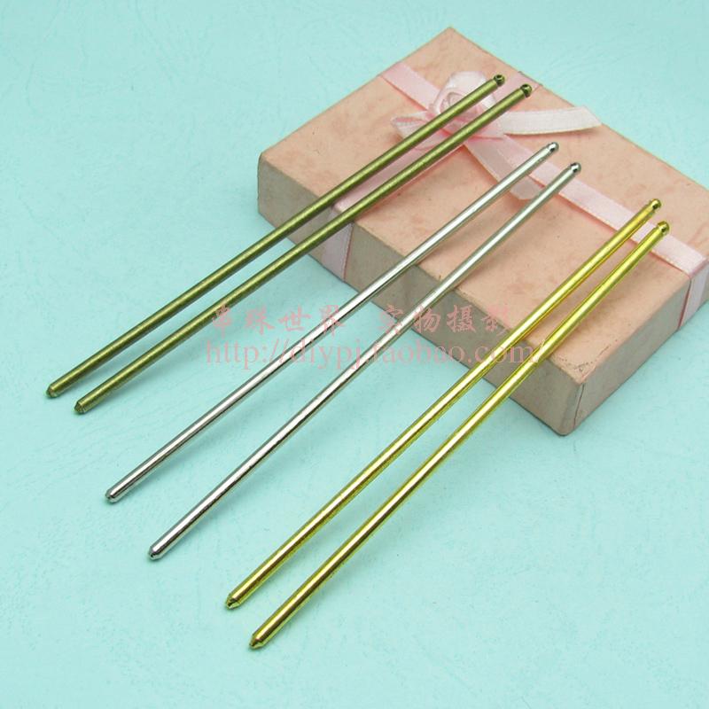 DIY手工串珠发饰配件铁/铜材125*4MM金/白钢/古铜带孔发簪