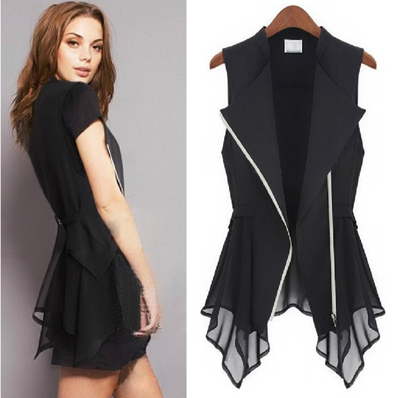 Chiffon vest womens summer Europe and the United States versatile sleeveless vest Jacket Womens spring and autumn thin vest with large size