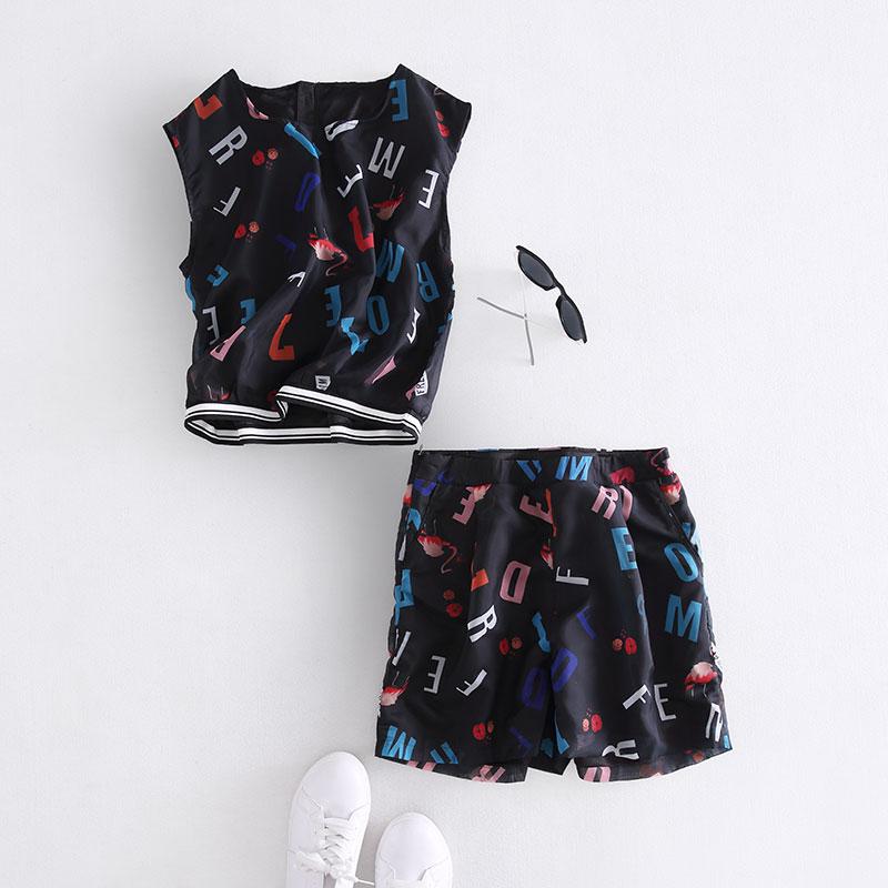 41# корейской версии летних женщин и новых печатных футболки коротким рукавом Футболка Шорты два кусок моды костюм 6B281