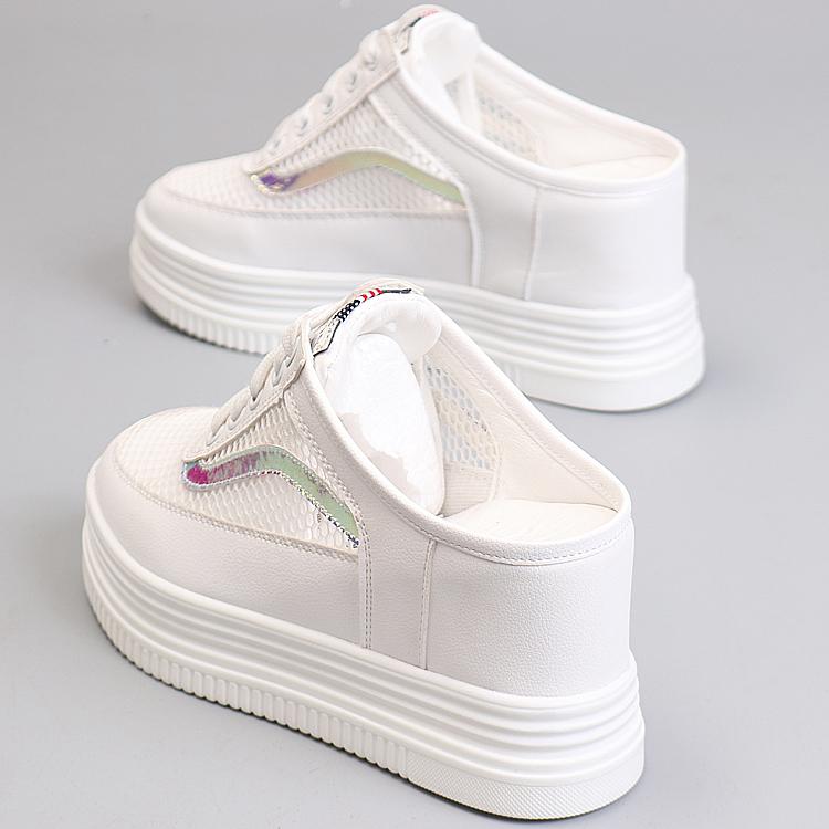 内增高9cm夏季半拖鞋女韩版百搭网纱透气厚底懒人一脚蹬小白鞋女