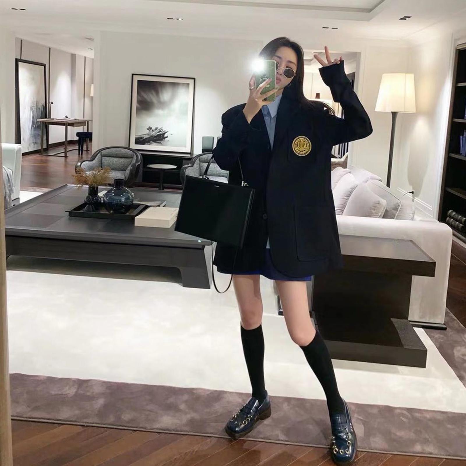 网红小西装外套女韩版宽松复古小个子ins潮 学院风休闲设计感西服