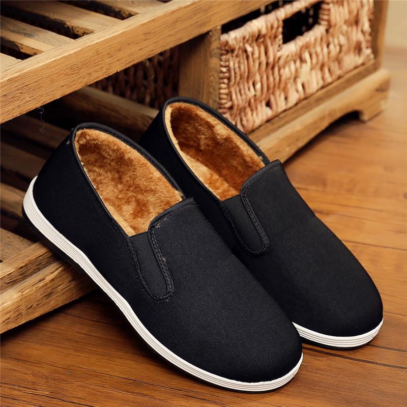 老北京男棉鞋冬季加绒防滑黑色布鞋