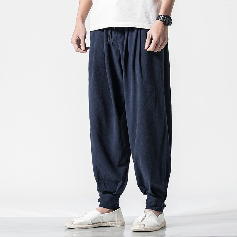 Spring new Chinese style casual pants mens Cotton hemp loose baggy pants qt6008-1 / k021 / p65