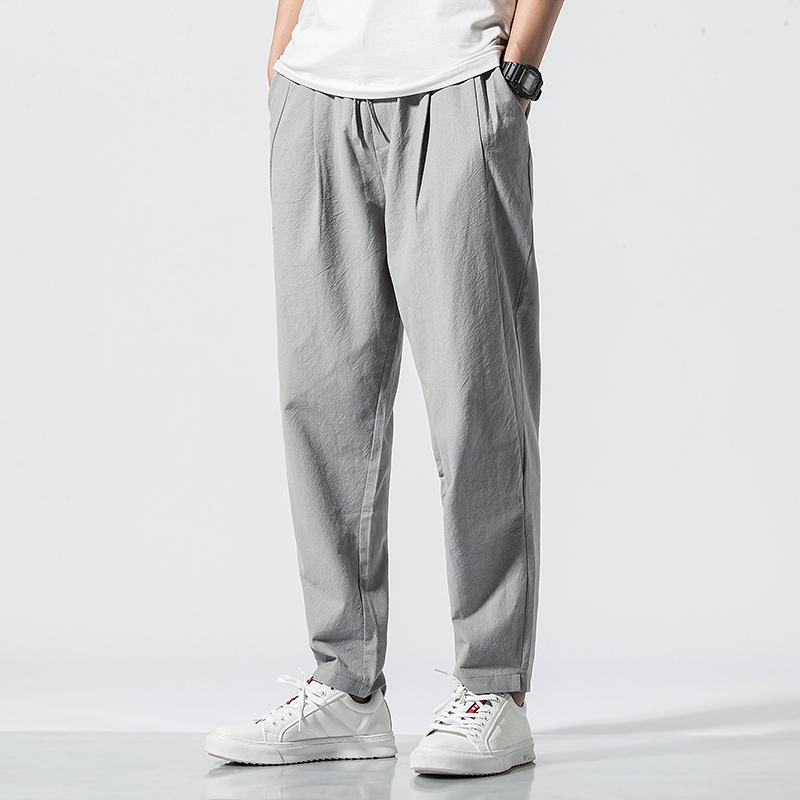 New Chinese Style Mens pants in spring and summer of 2019 Vintage large loose cotton and linen pants qt6008 / 1 / k018p55