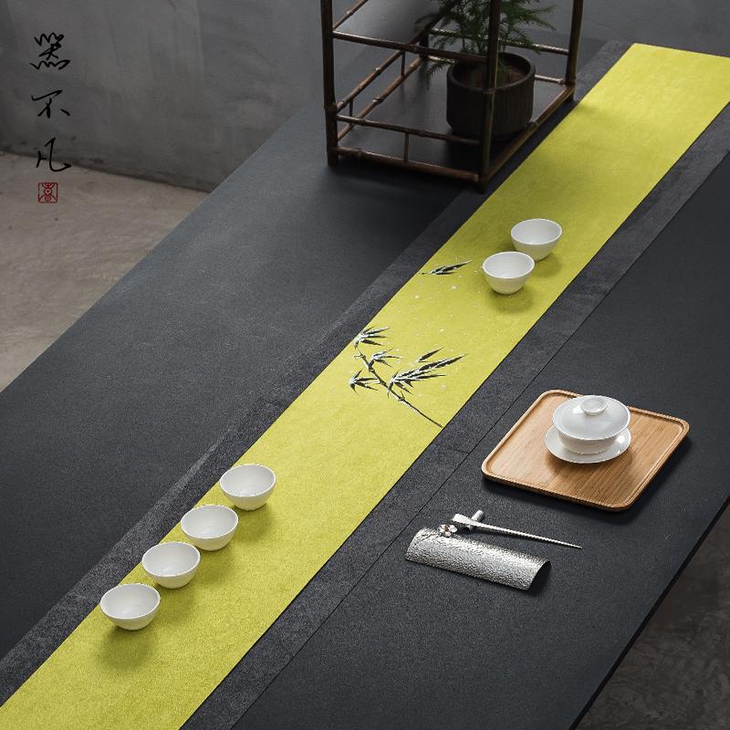 手绘防水茶席麻布禅意布艺桌旗茶垫