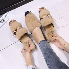 毛毛拖鞋女外穿2018秋季新款韩版中粗跟懒人半拖鞋保暖棉拖穆勒鞋