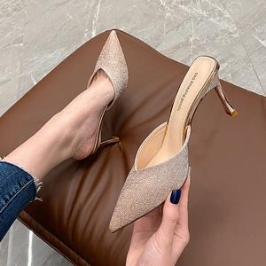 包头半拖鞋女2020春季新款网红拖鞋女外穿尖头高跟鞋细跟凉拖鞋夏