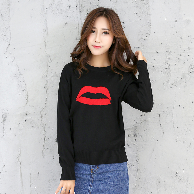 New fall 2017 top embroidered crew neck Pullover long sleeve sweater womens loose lips black sweater