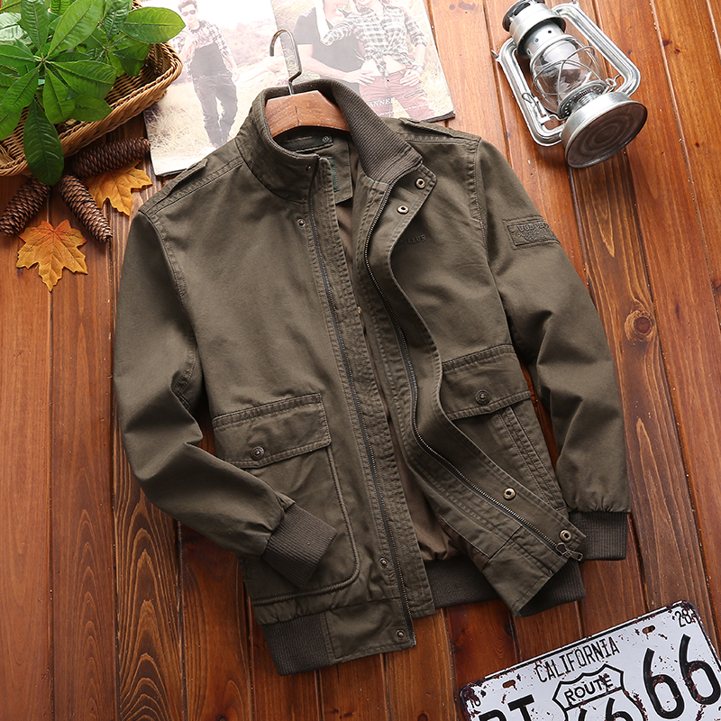 Jeep shield jacket mens spring and autumn cotton stand collar casual thin jacket work clothes large jacket mens coat jeans