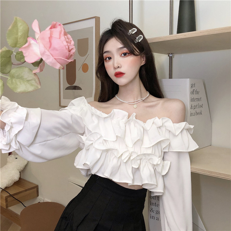 French temperament one shoulder long sleeve top womens spring and autumn new design feeling Ruffle first love sweet Strapless shirt