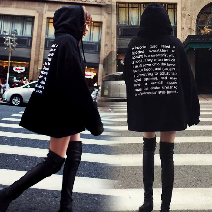 2020 new embroidered hooded sweater for women Korean fashion students loose Plush medium length BF couples big coat