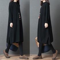 秋冬新款韩版大码长袖连衣裙中长款复古宽松显瘦针织衫毛衣打底裙