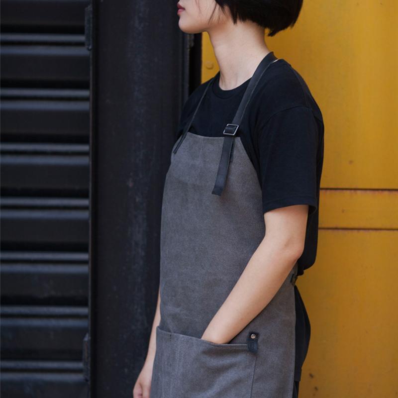 鹿造 餐厅 画室 咖啡 工作围裙 复古水洗做旧帆布 男女 定制LOGO