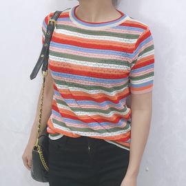 彩虹条纹针织衫女夏2020年新款休闲时尚短款套头圆领宽松短袖线衣