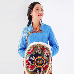 西藏<span class=H>民族</span><span class=H>服装</span>长袖衬衣女 藏装新款花边上衣 糖果色藏服03013