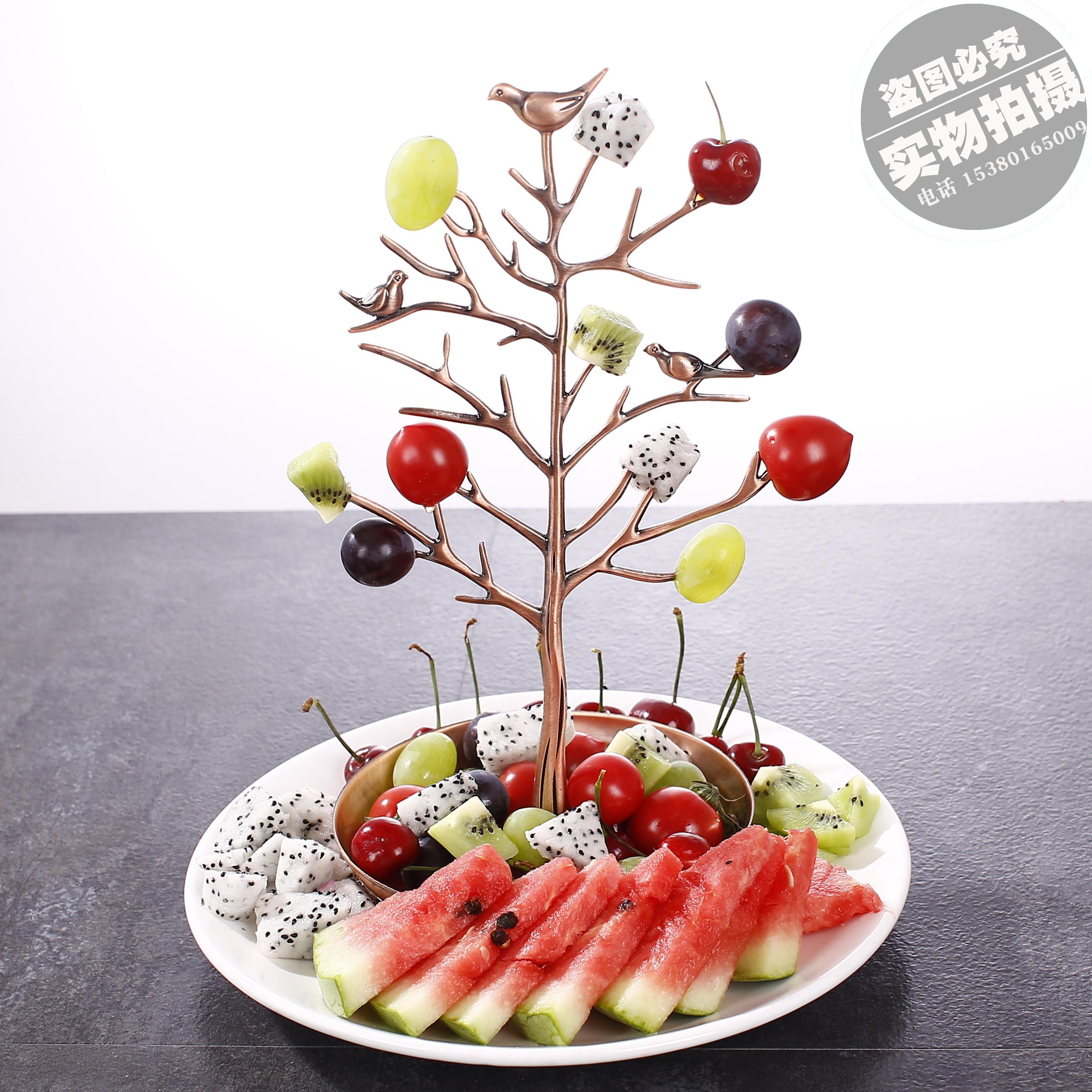 特色个性餐具酒吧用品ktv餐厅金属碟子创意水果树果盘拼盘架包邮