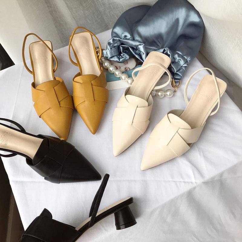 小ck鞋2020年夏新款凉鞋女两穿包头拖鞋尖头中粗跟时装单鞋高跟鞋