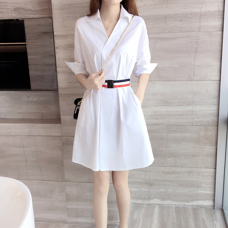 New polo shirt dress in the spring of 2021 shows thin waist, fashionable and versatile
