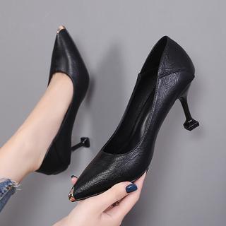 真皮高跟女鞋秋季尖头单鞋女2020新款细跟黑色中跟工作鞋