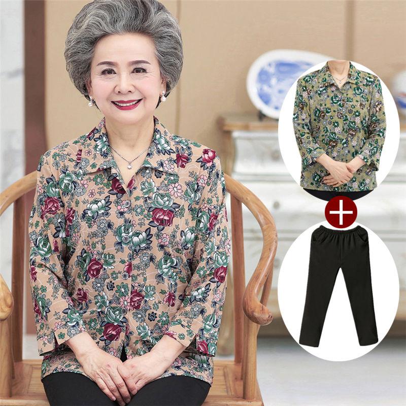奶奶装春装衬衫中老年人女装妈妈上衣套装/单件太太夏装老人衣服