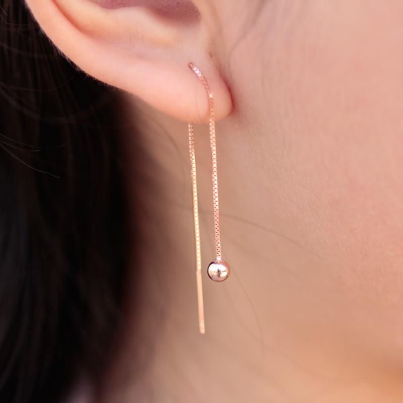 925 sterling silver ear line short simple female Doudou 18k rose gold thin Earrings Korean long earrings versatile ear chain