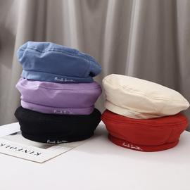 韩版ins风百搭贝雷帽春夏款薄款文艺复古画家帽子日系紫色蓓蕾帽
