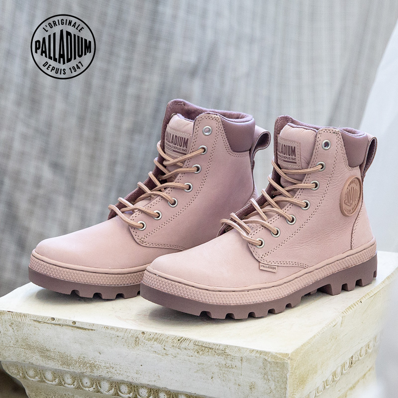 Palladium palladium casual leather boots Martin boots high top shoes rhubarb Boots Cherry Blossom powder women's boots autumn and winter 96305