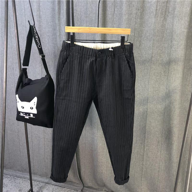 原创休闲裤男EN2019秋季新款AVH日系微跨青年文艺条纹修身小脚裤