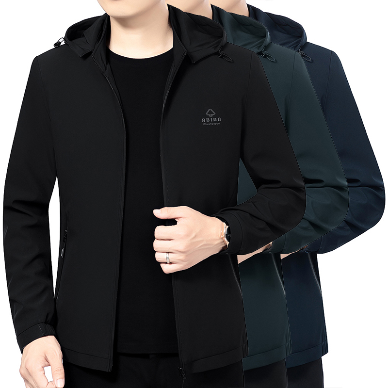 Mens business hat zipper jacket mens spring and autumn Hooded Jacket middle aged dad jacket casual handsome coat
