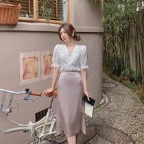 短袖V领雪纺衫女2020夏季新款百搭显瘦小衫收腰时尚洋气薄款上衣