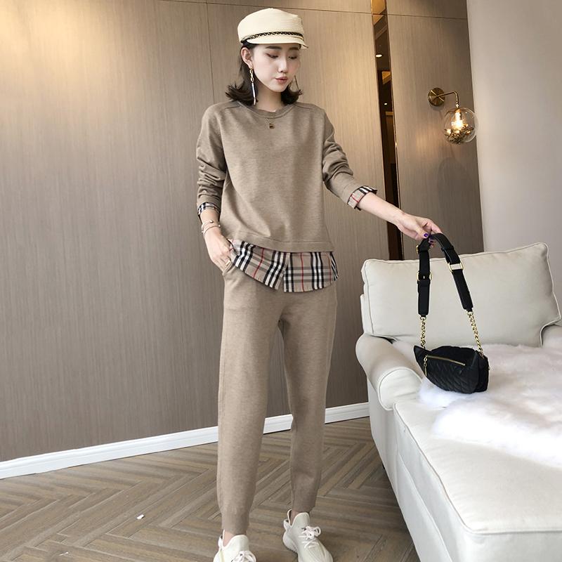 2021早春羊毛针织套装女格子假两件毛衣萝卜裤韩版宽松洋气两件套