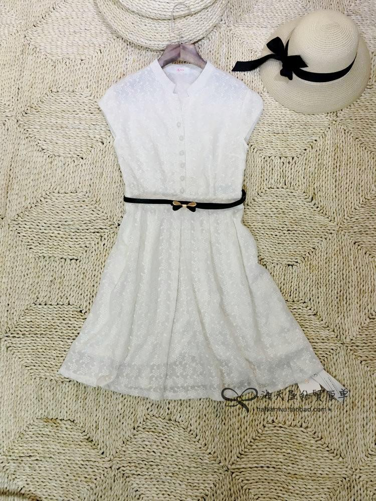 【搬迁清货】简约知性 纯色衬衫款本色小花朵提花连衣裙配腰带