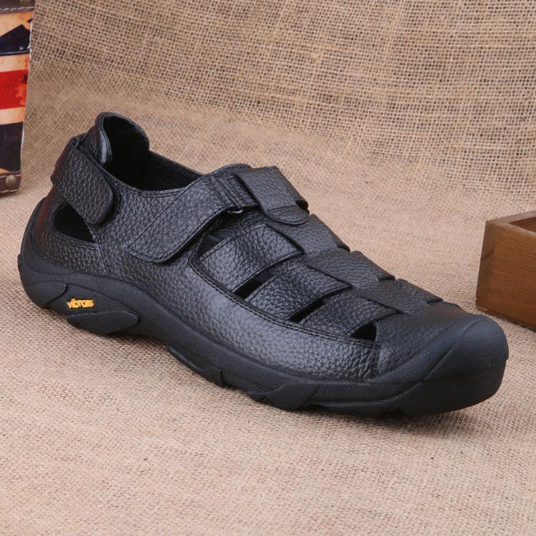 男士凉鞋2018新款真皮透气夏季休闲鞋防滑大码中老年包头凉鞋爸爸