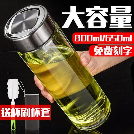 卧龙单层玻璃杯大容量800ml水杯男女车载加厚口杯子细长简约防摔