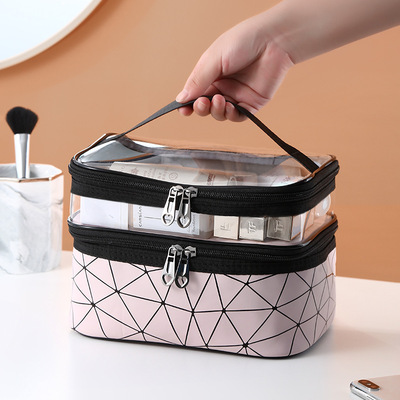 Double-layer cosmetic bag female portable portable skin care product storage box 2020 new fitness waterproof large-capacity toiletry bag