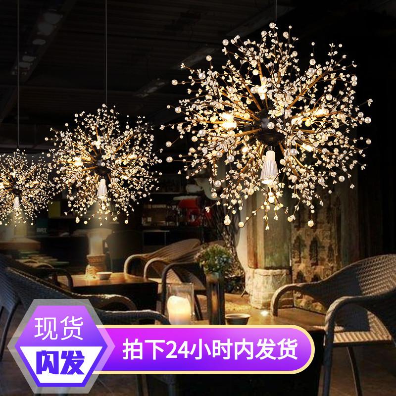 吊灯店铺商用创意个性工业风格复古美式别墅跃层长楼梯艺术餐厅灯