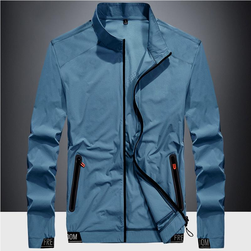 Sunscreen mens summer 2020 ultra thin breathable quick drying clothes ice silk outdoor sports jacket hoodless stand collar coat man