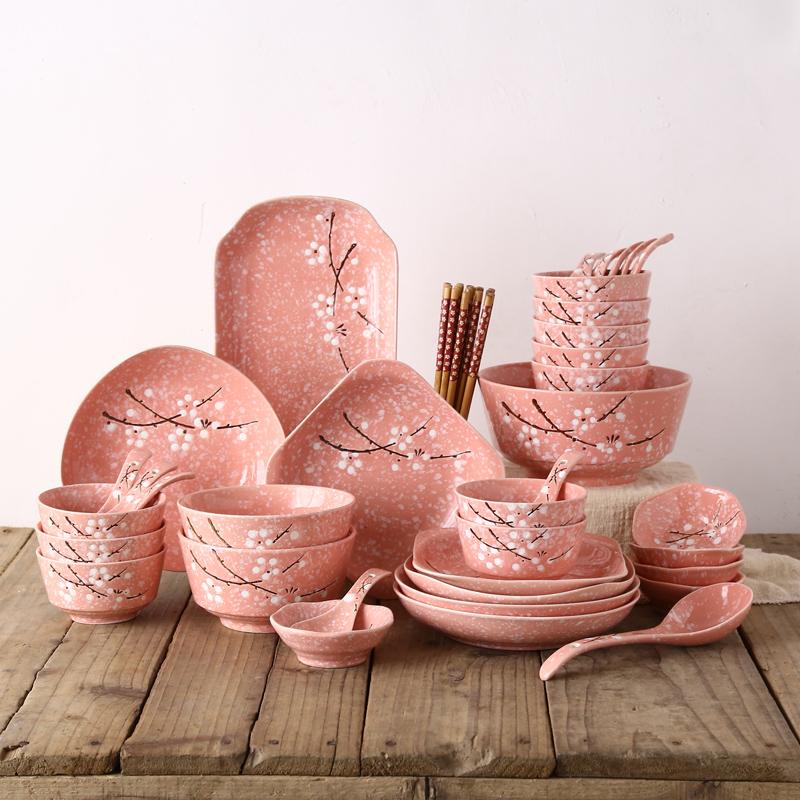 日式陶瓷碗碟筷勺盘子大汤碗餐具家用乔迁结婚送礼46头礼盒套装