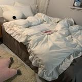 灰白素色水洗棉四件套北欧风简约荷叶花边被套床裙学生宿舍三件套