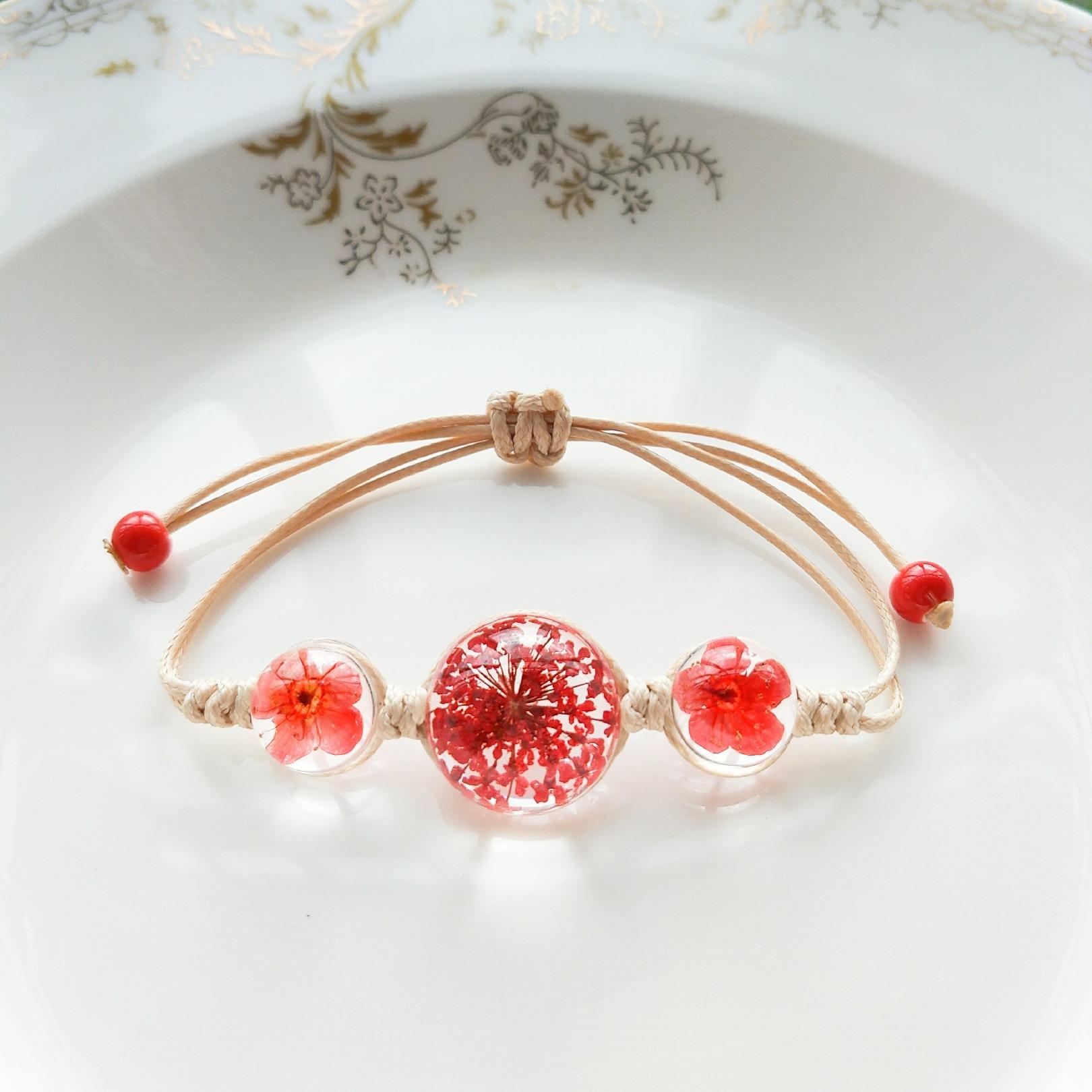小清新闺蜜手链满天星干花手链时光宝石玻璃球永生花手饰陶瓷饰品