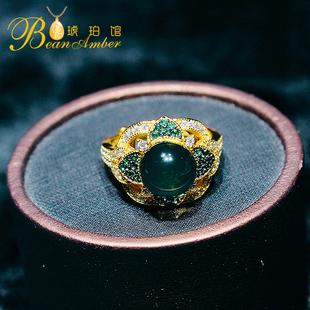 边记琥珀指环欧式复古蓝珀戒指活口女纯银四叶草天使之眼食指戒